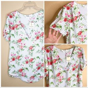 Tops - BOGO SALE Floral Striped Summer Top